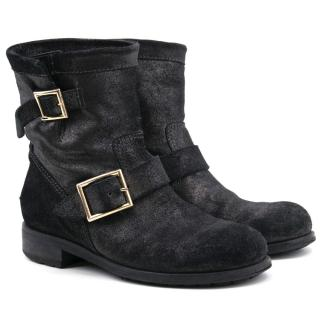 Jimmy Choo Youth Biker Boots with Metallic Finish
