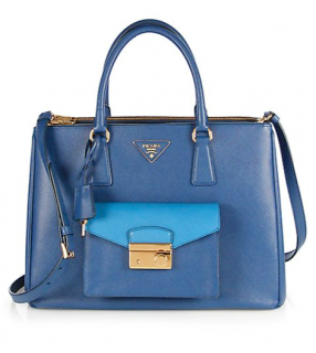 Prada saffiano dark blue luxury leather pocket tote
