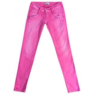 MET pink cotton & elastane distressed skinny stretch jeans