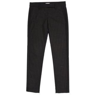 Brunello Cucinelli Grey Wool Pinstripe Trousers