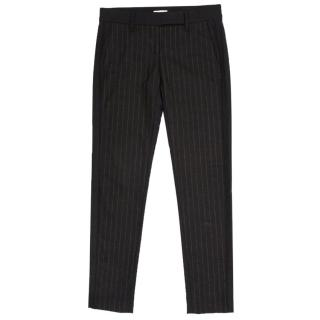 Brunello Cucinelli Grey Wool Pinstripe Trousers