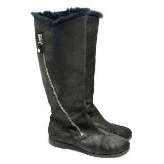 Jimmy Choo Black Fur Lined Boots with Metallic Finish