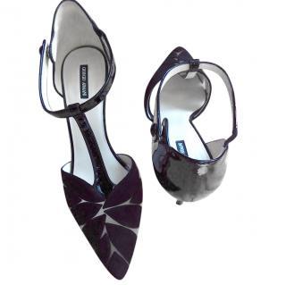 Giorgio Armani Black Suede T-bar Sandals