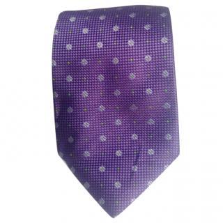 Duchamp Purple Base With Purple Squares Foulard Pattern Silk Tie