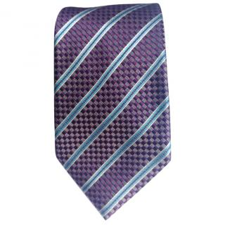 Ermenegildo Zegna Checked Base With Blue Stripes Silk tie