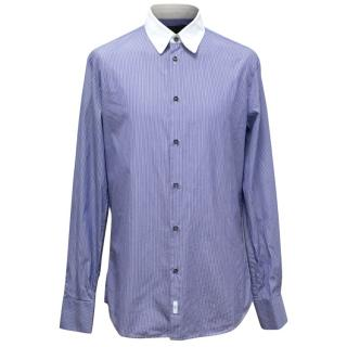 Dsquared Blue and White Pinstripe Tailor Dean Classic Shirt
