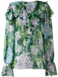 Dolce and Gabbana hydrangea ruffled blouse Ortensia collection