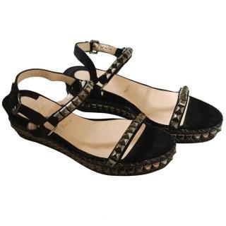 Christian Louboutin black flat platform sandals