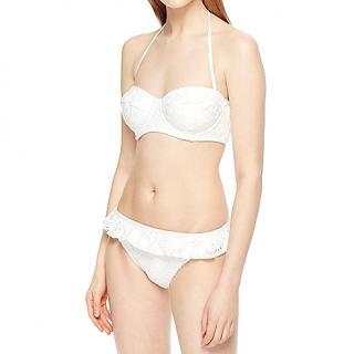 Kate Spade White Underwire Bikini Top & Ruffle Bottom