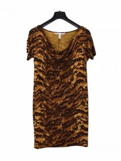 Diane Von Furstenberg silk animal print brown dress