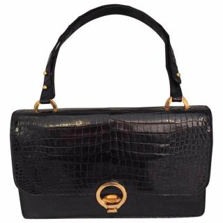 Hermes Crocodile Black Satchel Shoulder Bag/Handbag