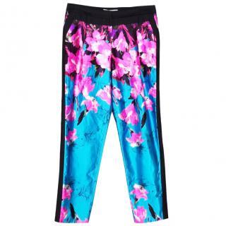 Prabal Gurung floral shiny blue trouser