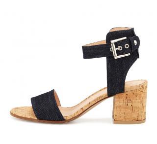 Gianvito Rossi Denim & Cork Block heels