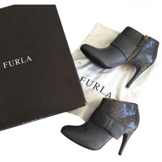 Furla grey leather ankle boots