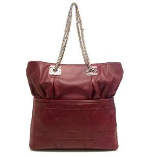 Christian Dior Red Leather Tote Bag