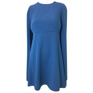 Valentino Sable Blue Wool Cape Dress.