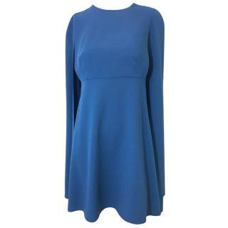 Valentino Sable Blue Wool Cape Dress.