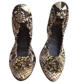 Roberto Cavalli Snake Print Ballerinas