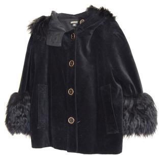DKNY Velvet and Fur Coat