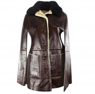 Prada Brown Shearling Jacket UK 8