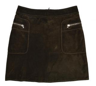 Joseph Brown Leather Skirt