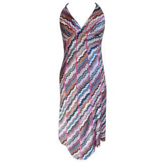 Poleci silk pink multi halterneck dress