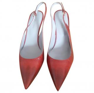Sergio Rossi patent leather snake slingback