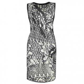 Marc Cain Stunning Abstract Wool Dress  size M