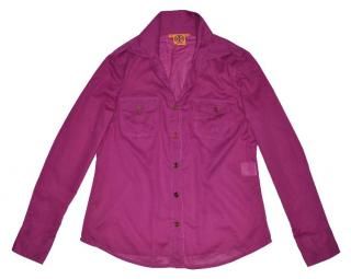 Tory Burch - purple Cotton Shirt with Gold Button