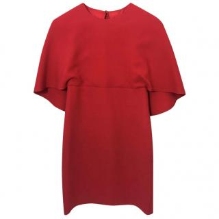 Valentino Cape Effect Red Wool Dress.