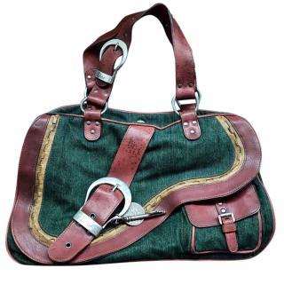 Christian Dior Brown Green Leather Denim Gaucho Saddle Large Handbag