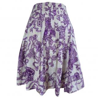 Barbara Bui puple floral print pleated skirt