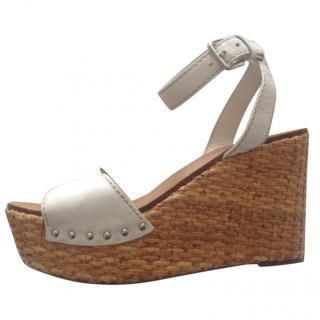 Prada Leather Wicker Wedge Sandals