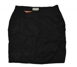 Acne Black Viscose Cotton Asymmetric Skirt size 36