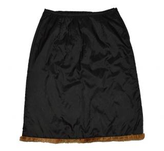Schumacher Amazing Black Fur Trim hem Skirt size M