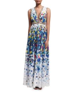 Diane Von furstenberg Lelani Floating Flower Maxi Dress Multicolor