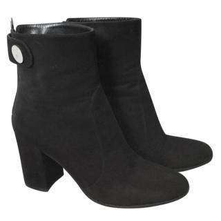 Gianvito Rossi black suede block heeled boots