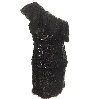 Red Valentino Black Sequin One shoulder dress