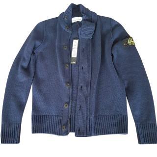 Stone Island Men's blue zip front cardigan