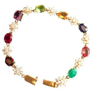 Bespoke 18k Gold Multi Gem Bracelet