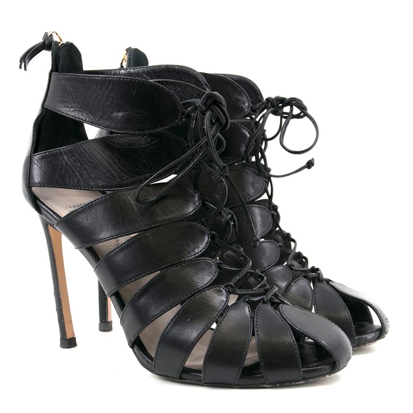 Francesco Russo Black Strappy Rear Zip Pumps