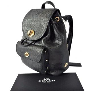 COACH Black Mini Polished Pebble Leather Rucksack