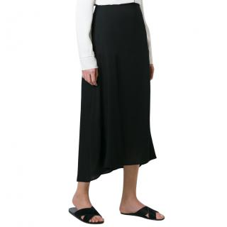 Theory black silk skirt