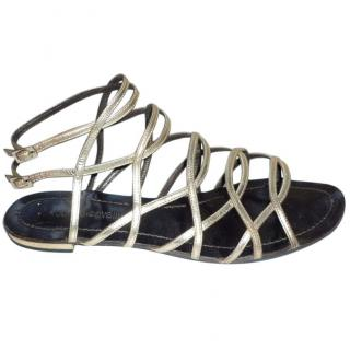 Roberto Cavalli Gladiator Gold Leather Sandals