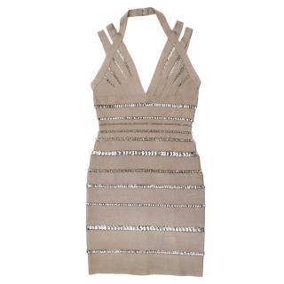 Herve Leger Taupe Crystal-Link Bandage Dress