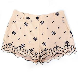 Alice by Temperley Cream and Navy Floral Shorts