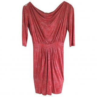 Saloni red coral silk dress 8