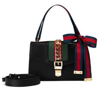 Gucci Sylvie Black Leather Shoulder Bag