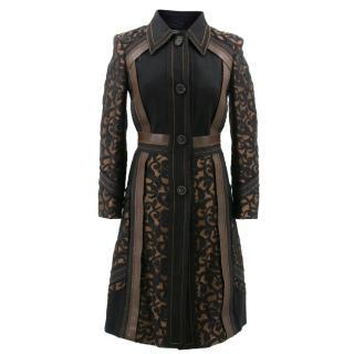 Prada Black and Brown Patterned Coat