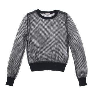 Bottega Veneta Black Net Sheer Jumper